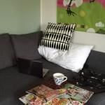 arbetsplats i soffan